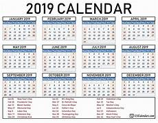 Year Calender Download 2019 Calendar Printable With Holidays List Free