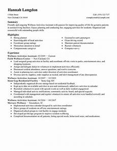 Interests To List On A Resumes Best Wellness Activities Assistant Resume Example Livecareer