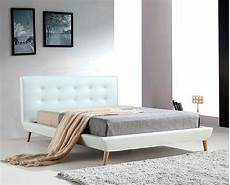 pu leather deluxe bed frame white