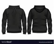 Blank Black Hoodie Template Front And Back Black Hoodie Template Royalty Free Vector