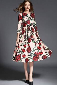 autumn new floral print dresses white retro