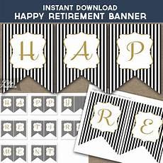 Happy Retirement Banner Printable Happy Retirement Banner Black Amp Gold Nifty Printables