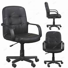 Warmiehomy Office Chair Swivel Faux Leather Armchair Height Adjustable by 2x Black Faux Leather Office Chair Swivel Computer Desk