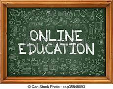 Online Chalkboard Online Education Hand Drawn On Green Chalkboard Online