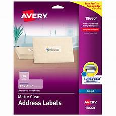 Address Labels Avery Avery Address Labels Sure Feed 1 Quot X 2 5 8 Quot 300 Clear