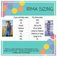 Sizing Chart For Lularoe Irma Irma Shirt Sizing Comparison Irma Sizing Lularoe