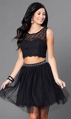 black clothes cheap two black homecoming dress promgirl