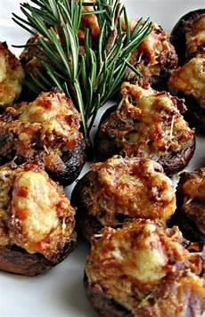 sausage asiago stuffed mushrooms with balsamic glaze