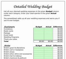 Detailed Budget Template Detailed Wedding Budget Template