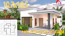 Two One Two Design House Plans 10 7x10 5 With 2 Bedrooms Flat Roof House