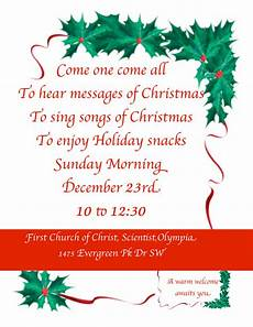 Christmas Carol Invitation Wording Join Us Dec 23 For Our Early Christmas Service First