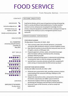 Resume For Food Industry Food Service Resume Example Amp Writing Tips Resume Genius