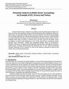 Pdf Financial Analysis In Public Sector Accounting An
