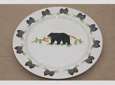 Black Bear Dinnerware & Black Bear Family With Bear Paws