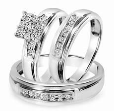 1 2 ct t w diamond trio matching wedding ring set 10k