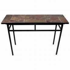 slate top sofa table black metal base dcg stores
