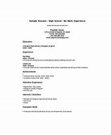 Resume Builder No Work Experience Free 8 Sample High School Student Resume Templates In Ms