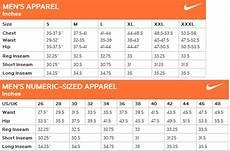 Mens Nike Size Chart Nike Men S Apparel