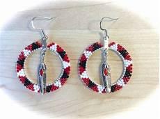 beaded hoop earrings w feather american style
