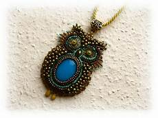 bead embroidery bead embroidered necklace owl ooak