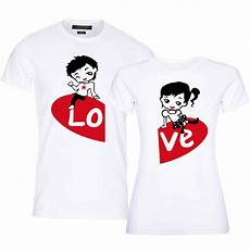 Couple T Shirt Love Design Cute Animi Completing Love Design Printed T Shirts For