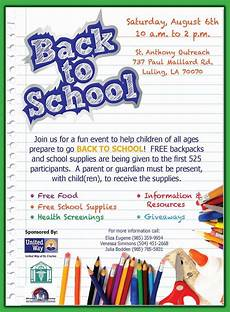 School Event Flyer Back To School Event Provides Backpacks And Supplies To