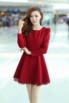 womens slim korean fashion solid woolen lace string dress
