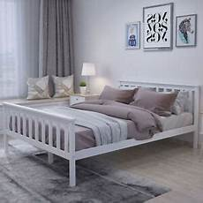 4 6ft modern solid wooden bed frame in white for