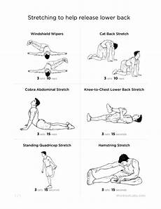 Lower Back Stretches Chart For Back Free Chart Physiotherapy Injury