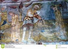 fresco ancient ancient fresco murals in transylvania stock photo image