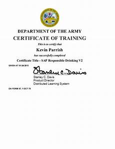 Army Certificates Of Training Sap Responsible Drinking V2
