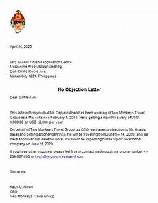 Sample Of No Objection Letter From Employer Sample Template No Objection Letter Template For Your