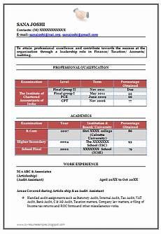Fresher Accountant Resume Sample Fresher Chartered Accountant Resume Sample Template For