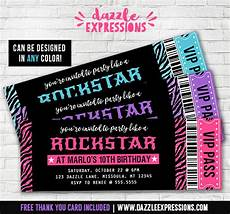 Concert Ticket Invitation Template Free Printable Glitter Zebra Rockstar Ticket Birthday