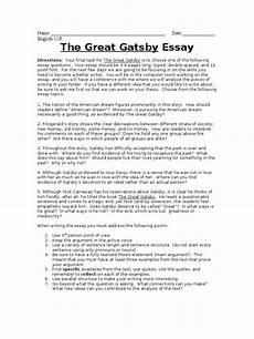 American Dream Essay Great Gatsby The Great Gatsby Final Essay The Great Gatsby American