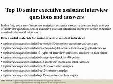 Senior Executive Assistant Job Description Top 10 Senior Executive Assistant Interview Questions And