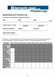 Bodybuilding Printable Logs 14 Printable Workout Log Examples Pdf Examples
