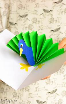 peacock pop up card paper craft easy peasy and