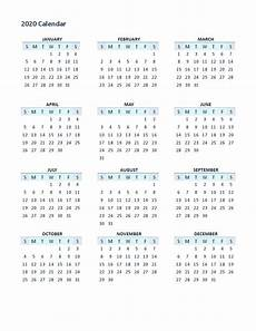 Yearly Calendar 2020 Printable 2020 Yearly Calendar Printable Full Pages Calendar Shelter