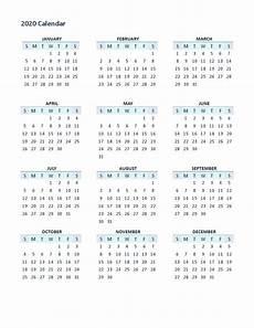 12 Months Calendar 2020 Printable 2020 Yearly Calendar Printable 12 Months Calendar Shelter