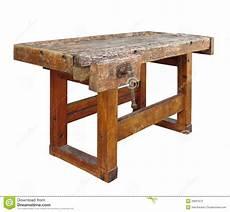 banchetto orafo usato vecchio banco da lavoro di legno isolato fotografia stock