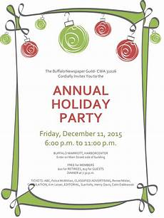 Annual Holiday Party Invitation Template Holiday Party Dec 11 Buffalo Newspaper Guild