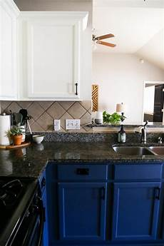 our diy blue white kitchen cabinets renovations