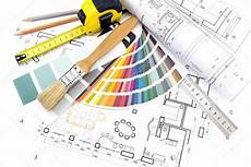 Architecture Equipment Architect S Work Tools On Blueprints Background Stock