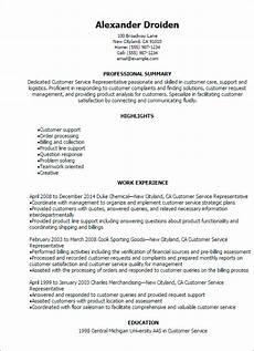 Customer Service Professional Resume 1 Customer Service Representative Resume Templates Try