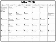 Printable May 2020 Calendar With Holidays May 2020 Calendar With Holidays