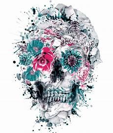 floral skull iphone wallpaper colorful floral skull illustrations by riza peker designwrld