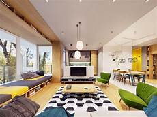 funky modern interior with accents geometric decor