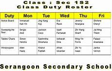 School Duty Roster Sss1s2 Duty Roster