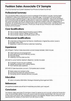 Sample Retail Cv Fashion Sales Associate Cv Sample Myperfectcv